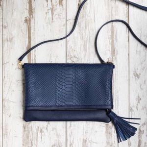 Gigi New York navy leather purse